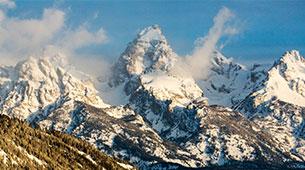 Teton mountain range with snow