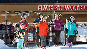 Family getting of the Jackson Hole ski lift
