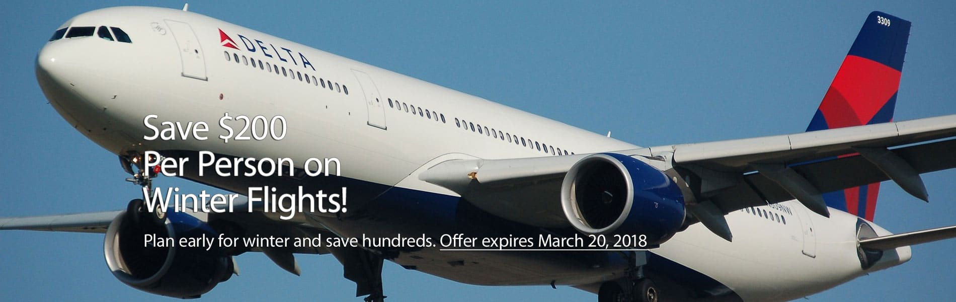 delta airline with $200 saving for winter flight text