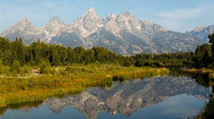 View of the Tetons in the summertime.