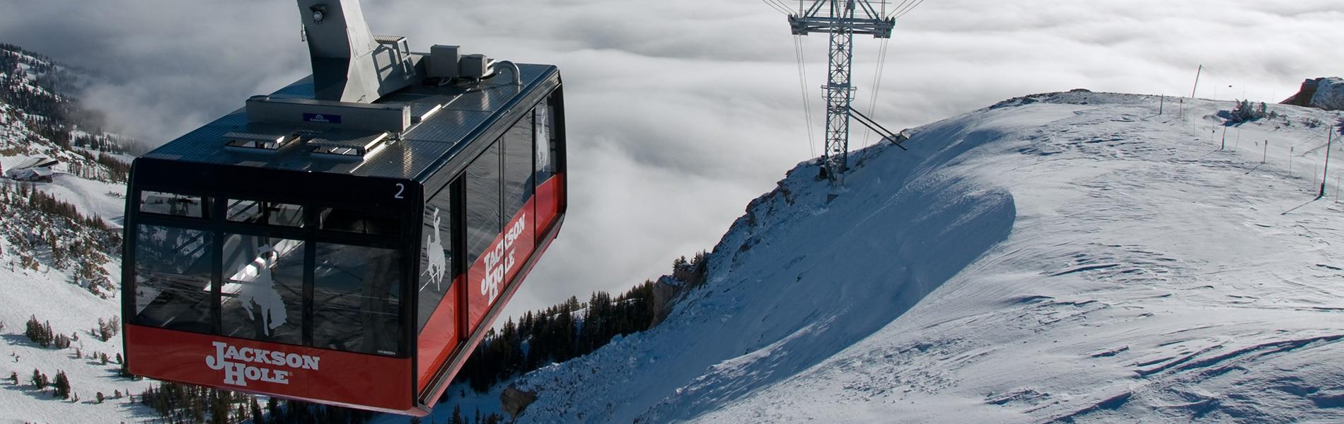 Teton Private Residence gondola in the snow.
