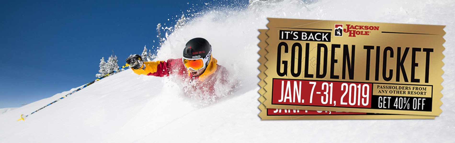 Skier in the snow with the Golden Ticket logo.