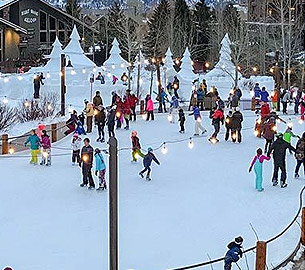 Ice skating in Teton Village.