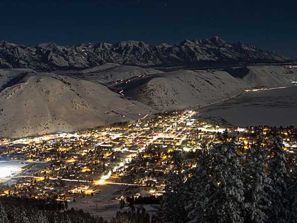 Aerial view of Jackson Hole in the dark.