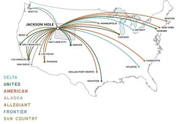 Flight map to Jackson Hole.