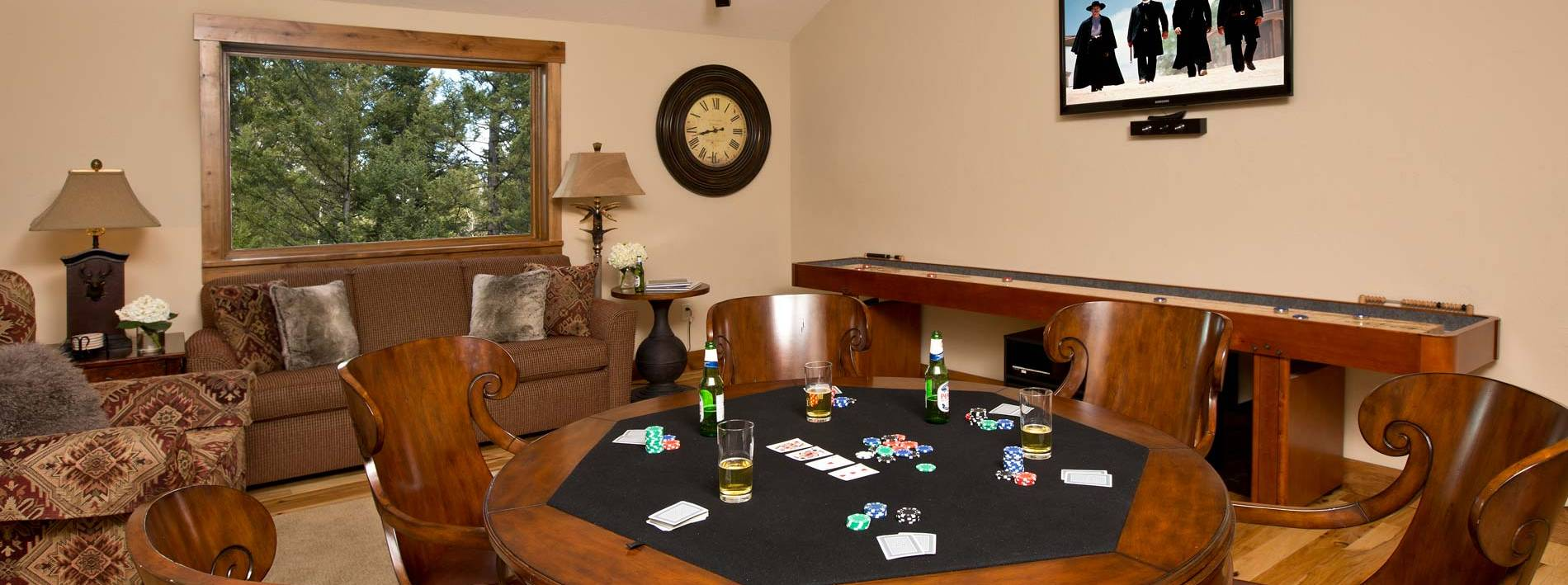 Game room at the Blue Moose Lodge in Jackson Hole