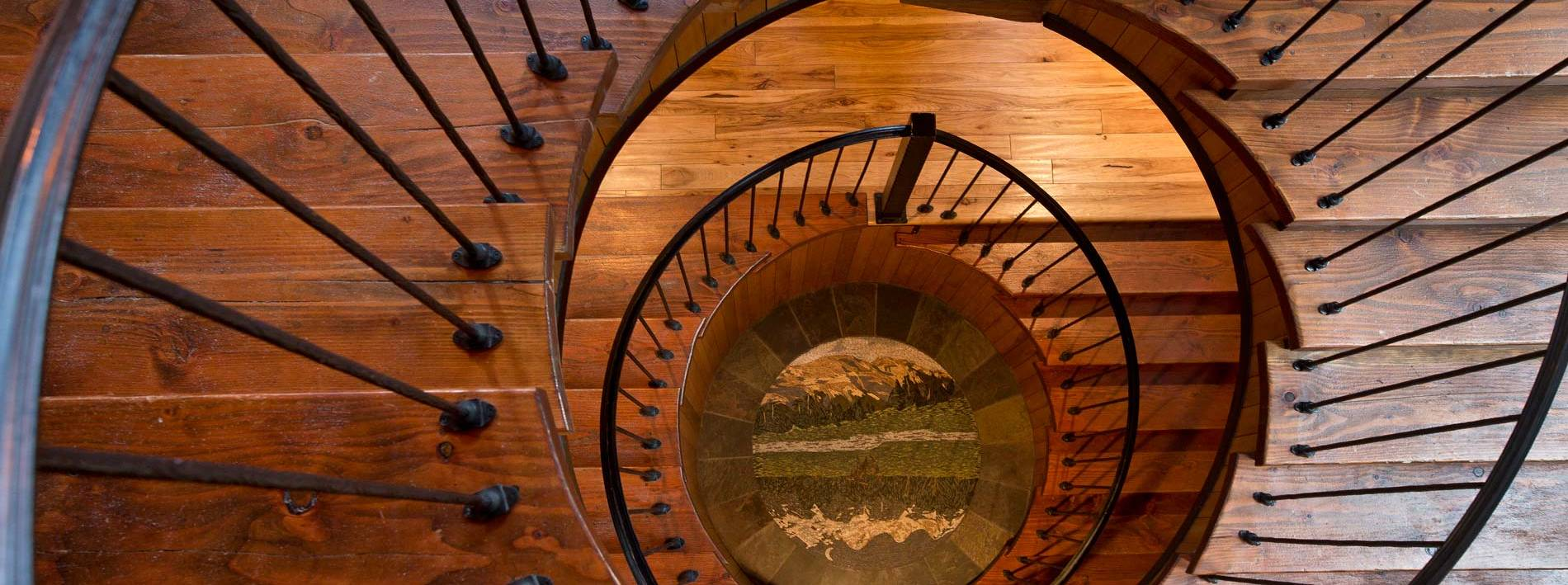 Wooden spiral staircase in the Blue Moose Lodge