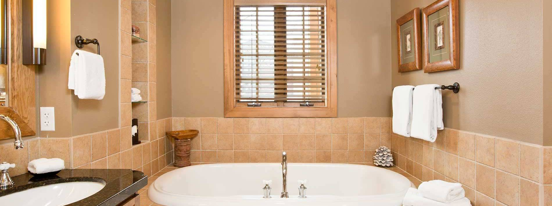 Spacious bathroom with a large tub