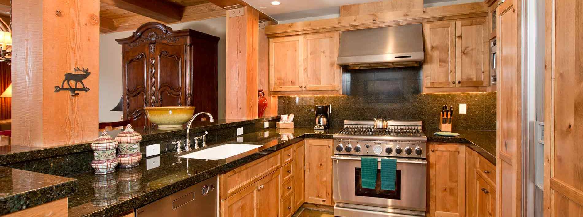 Spacious kitchen in this Jackson Hole private home rental