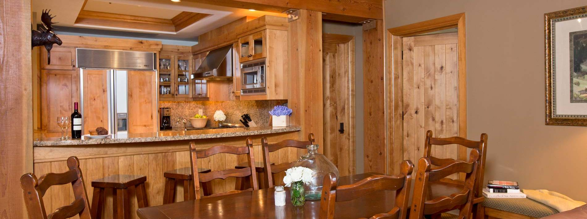 Luxury kitchen in this Teton Village private home rental