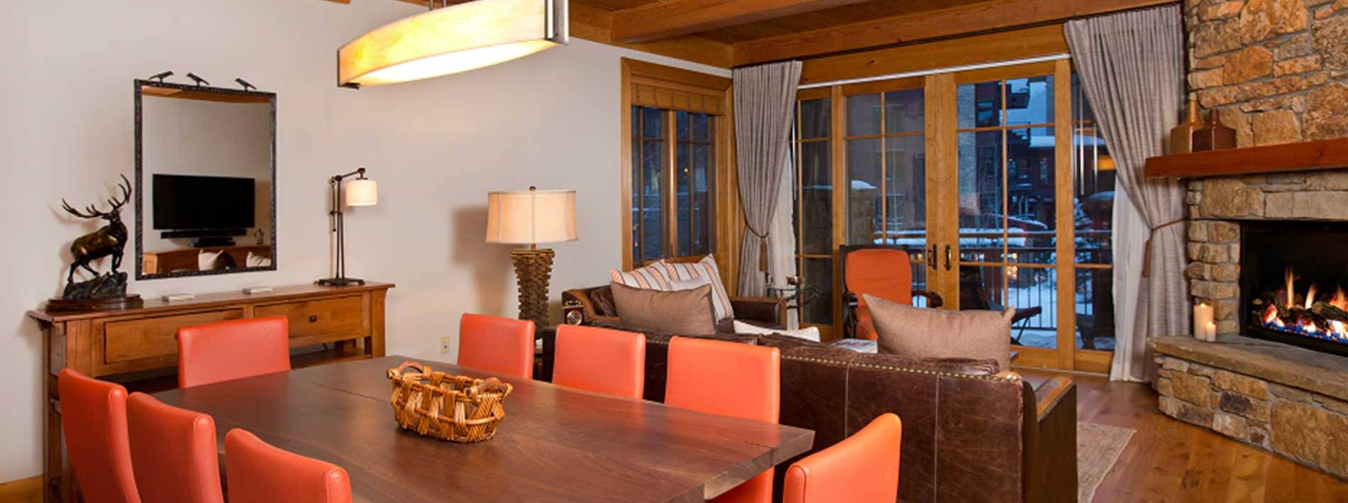 Kitchen table in this Jackson Hole private home rental