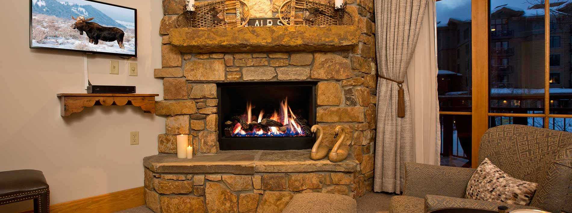 Rock fireplace in Arrowleaf Jackson Hole